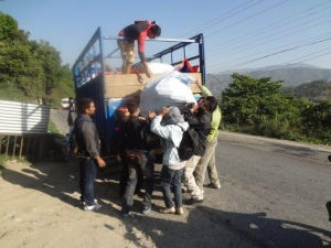off-loading truck -Nepal 8-'15