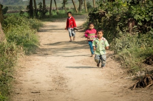 Running Children Along the Road
